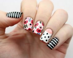 Flowers & Stripes - Mix It Up With These Mismatched Nail Designs - Photos