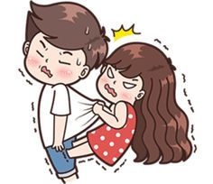 This love for you, send your love to your couple. It's so cute >. Cute Cartoon Images, Cute Love Cartoons, Love Cartoon Couple, Vol 2, Line Store, Line Sticker, Anime Scenery, Anime Art Girl