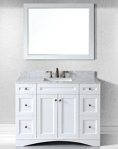 Single Vanity Cabinet White Shaker Striking Auburn Stained Style Bathroom Renovation Pinterest