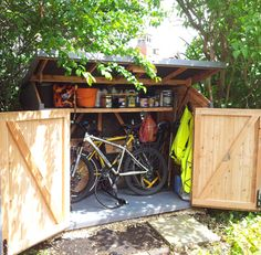 Best Garden Shed Plans and PICS of Storage Building Plans And Materials List. Bicycle Storage Shed, Outdoor Bike Storage, Diy Storage Shed Plans, Storage Building Plans, Wood Shed Plans, Bike Shed, Building A Shed, Bin Storage, Scooter Storage