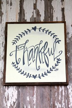 Thankful sign with barnwood frame