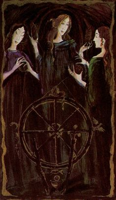 Katalin Szegedi Tarot - Wheel of Fortune Wicca, Wheel Of Fortune Tarot, Le Tarot, Triple Goddess, Norse Mythology, Sacred Art, Tarot Decks, Tarot Cards, Occult