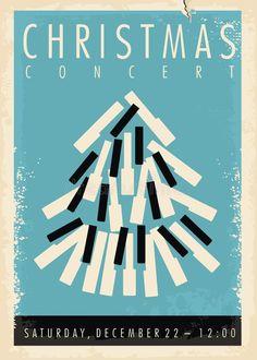 Christmas Concert Retro Poster Design Idea Stock Vector - Illustration of entertainment, blue: 158751064