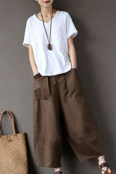 Coffee Loose Cotton Linen Casual Ankle Length Pants Women Clothes P1203