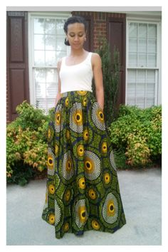 Long Maxi Skirt in African Fabric. Pleated with Pockets. #ItsAllAboutAfricanFashion #AfricanPrints #kente #ankara #AfricanStyle #AfricanFashion #AfricanInspired #StyleAfrica #AfricanBeauty #AfricaInFashion