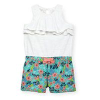 Koala Baby Girls Sleeveless White and Floral Print Layered Romper