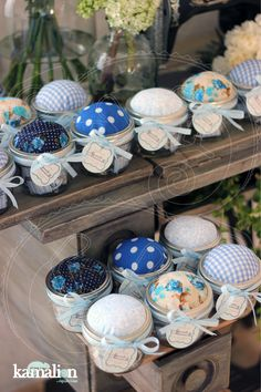 www.kamalion.com.mx - Mesa de Recuerdos / Giveaways / Detalles Personalizados / Vintage / Bautizo / It's a boy / Blue / Azul / Kit de Costura / Coser / Sewing Kit / Mason Jar.