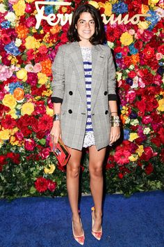 Leandra Medine love the effortless feel of this oversized blazer over striped shift