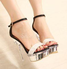 love Exquisite Contrast Color PU Ankle Strap Dress Sandals