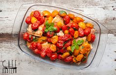 Łosoś z pomidorkami koktajlowymi i bazylią Stuffed Peppers, Vegetables, Stuffed Pepper, Vegetable Recipes, Stuffed Sweet Peppers, Veggies