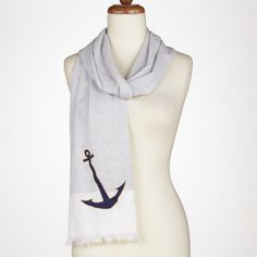 I love this striped scarf with an anchor on it!