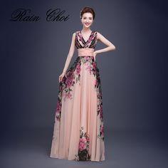 Floral Print Cheap Short Bridesmaid Dresses Formal Gowns Long Bridesmaid Dress 2017 #Affiliate