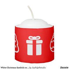 White Christmas Symbols on Red Background Votive Candle