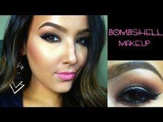 VIDEO TUTORIAL ▶ Bombshell Makeup Tutorial - YouTube #AmandaEnsing :: Uses all Makeup Geek shadows...Creme Brulee, Cocoa Bear, Mocha, Moondust & Peach Smoothie.