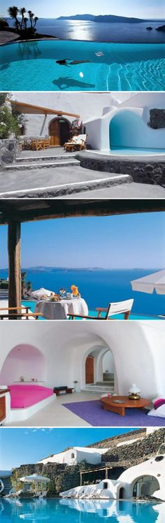 Santorini luxurious pool hotel - one of the world's most distinctive hotel, located in santorini, Greece, the town of the Aegean sea cliff. The hotel room is a 300 - years - old cave overhaul, a total of 20 suites, it has a luxurious infinity-edge pool. Infinite scenery can be directly overlooking the Aegean sea.