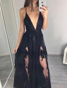 Black V Neck Prom Dresses,Sexy Prom Dress,Long Prom