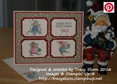 Christmas card created using the Merry Mice Stamp Set from the Stampin' Up! 2016 Holiday Catalogue.  http://tracyelsom.stampinup.net