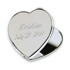 Personalized Engraved Silver Plated Heart Mirror Compact is a sterling silver-plated heart shaped mirror, personalized on top, creating a keepsake gift to remember your special celebration by. Compact features both a regular and magnifying mirror.