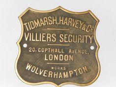 Brass safe plate from Tidmarsh, Harvey & Co | eBay