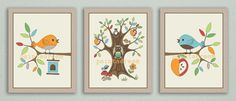 TREETOP FRIENDS Giclee 8x10 PRINT Set of 3 Baby by paintadream, $15.00