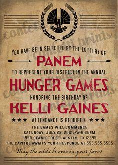 Printable Birthday Invitation - HUNGER GAMES