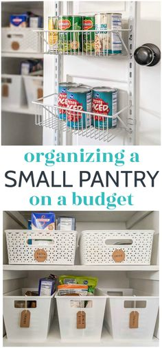 Our small pantry closet is now bright, organized, and all around a much more pleasant space! This small pantry makeover is full of simple and inexpensive ideas for small pantry organization that truly work for our family of five. Including ideas for dealing with deep shelves and dollar tree organizing ideas. Small Pantry Closet, Small Pantry Organization, Dollar Tree Organization, Organizing Ideas, Narrow Shelves, Deep Shelves, Diy Home Decor On A Budget, Decorating On A Budget, Furniture Makeover