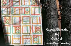 Organic Elements Quilt - love the colors and the little bit of appliqué. Little Miss Shabby for Moda Bakeshop.