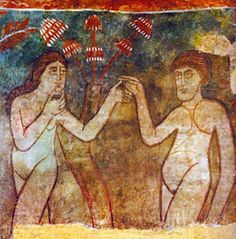 Adam and Eve with mushrooms - Christian mushroom worship. Mushroom = tree of…