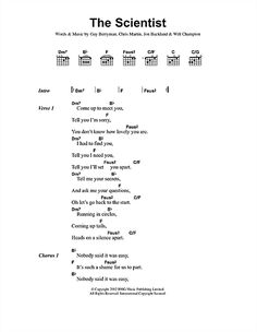 Coldplay: The Scientist - Lyrics & Chords | Sheetmusicdirect.com