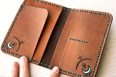 Ready to Ship Leather Passport Cover Night Owl Teal