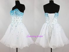 Strapless A Line Blue Crystal White Short Prom Dress Cheap Homecoming Dress 2014   eBay