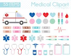 Medical Clipart, Doctor Clipart, First Aid Kit, Ambulance, Nurse, Health, Hospital, Healthcare, Bandage, Bandaid, Thermometer, Pill, CS0020 by Sweetdesignhive on Etsy Band Aid, First Aid Kit, Ambulance, Clipart, High Quality Images, Planner Stickers, Health Care, Cap Ideas, Medical