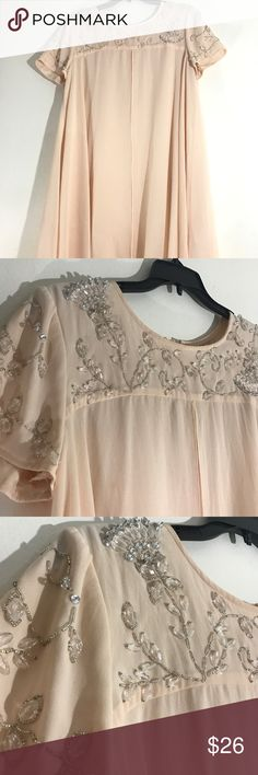 Embroidered Forever 21 Dress Embroidered with beautiful jewels & beads. Loose dress Forever 21, worn once. Size M. Light pink/cream. Forever 21 Dresses Mini