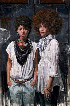 Tim Okamura (Canadian, b. 1968), oil on canvas board {figurative art females standing African-American black women #naturalhair afro portrait cropped painting grunge drips} Sistas! timokamura.com