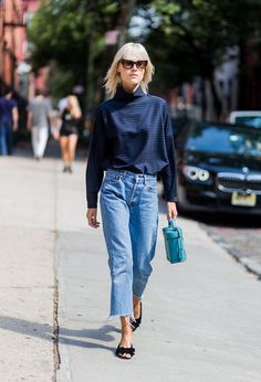How to Wear Trendy Denim Culottes Like a Fashion Expert: Wear Denim Culottes to the Office - With a Blouse