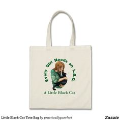Little Black Cat Tote Bag by Practically Purrfect, available on Zazzle.