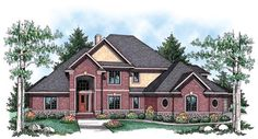 Elevation of Traditional   House Plan 72914