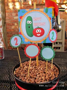 Cute VeggieTales centerpiece for Riley's 2nd Birthday!