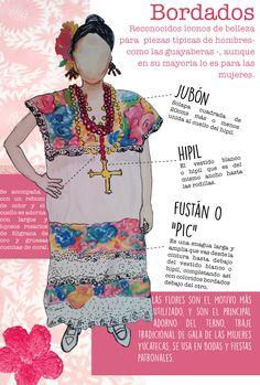 Bordados artesanales de colores en el vestir en Yucatán.