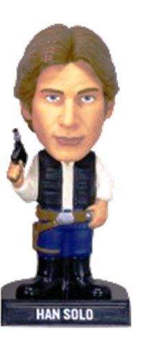 "Han Solo Bobble Head by Funko. $23.95. Sturdy base. PVC plastic. Bobble-head action. Licensed Star Wars bobble. Official Funko wobbler. From the Manufacturer                Who you calling scruffy looking? Han solo is fast thinking and quick with a blaster. This former space pirate stands 7"" tall and is sure to attract attention to your desk or dresser.                                    Product Description                This?former?space?pirate?stands7""?tall?and?i..."