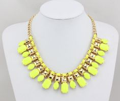 Yellow Statement NecklaceGold Necklace Bib Statement by Necklace21, $9.90