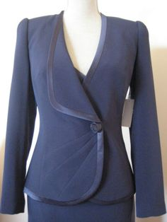 George-Gross-Blue-Size-8 US 4-Long-Sleeve-Jacket-With-Satin-Binding-New-With-Tags
