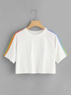 Shop Rainbow Stripe Panel Crop Tshirt online. SheIn offers Rainbow Stripe Panel Crop Tshirt… - #blouse
