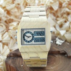 Attinata - Men's Natural Wood Digital Wristwatch