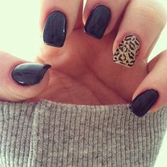 Leopard and black nails