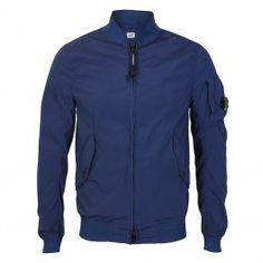 CP Company - Nycra Lens Bomber Jacket in Blue Work Suits, Spring Summer 2018, Sportswear Brand, Lens, Bomber Jacket, T Shirt, Jackets, Blue, Shopping