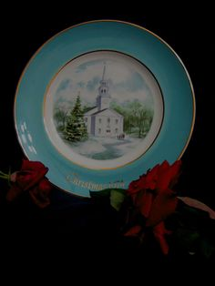 1974 Avon Collectible Christmas Plate Country Church by familycollectibles4U, $16.50