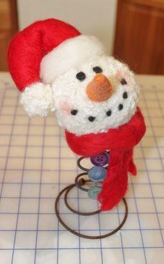 Needle Felted Snowman Make-do by Liongate Farm.  Shop liongate.etsy.com of find us on facebook at Liongate Farm