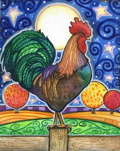 Items similar to Rooster  - 8x10 Colorful Rooster Moon Star Print on Etsy