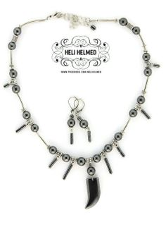 Hematite Necklace Fang Pendant and Earrings Dangle by HeliHelmed, $32.00